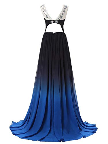 Blau Hochzeitskleider Abendkleider Damen Ballkleider Farbverlauf 5 Linie Chiffon Lang Festkleider A tqz4Pwq