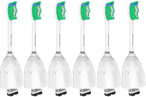 Replacement toothbrush Heads for Philips Sonicare E-Series HX7022/66, 6pack, Fit Sonicare Essence, Xtreme, Elite, Advance, and CleanCare Electric Toothbrush with Hygienic caps by Aoremon