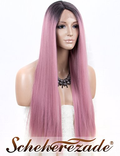 Ombre Pink Lace Front Wig, Long Straight Synthetic Wigs for Women Scheherezade L Part Pink Lace Wig with Dark Roots 24 Inches