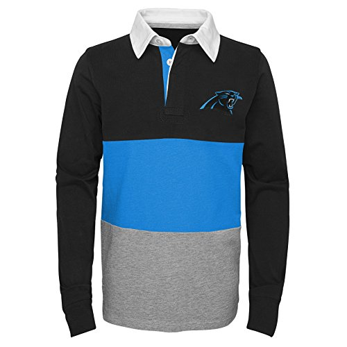 NFL Carolina Panthers Youth Boys State of Mind Long Sleeve Rugby Top Black, Youth Medium(10-12)