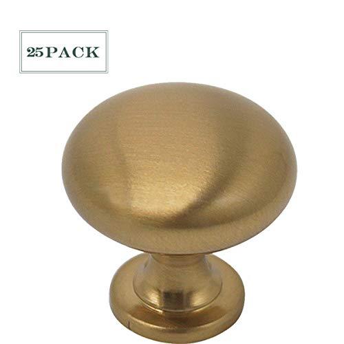 (Champagne Bronze Solid and Round Cabinet Knobs Kitchen Drawer Dresser Pull Handles 1.2'' Diameter Mushroom Shape-25 Pack)