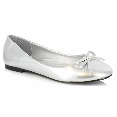 Ellie 016-MILA Womens Comfortable Fashion Adult Flat With Bow Silver Pu V2gsEdBO