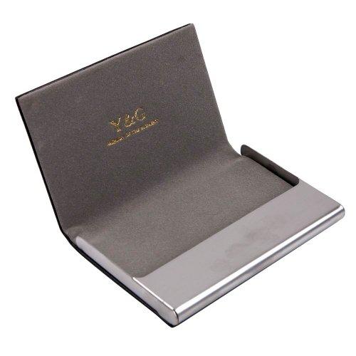 Y&G CC1005 Grey Business Fashion Card Holder Black Leather PU Card Case Fashion ()