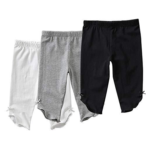 Otter MOMO Toddler Girls Capri Leggings 3 Pack Girl's Cotton Crop Leggings Pants with Ankle Bow (White/Grey/Black, 5T)