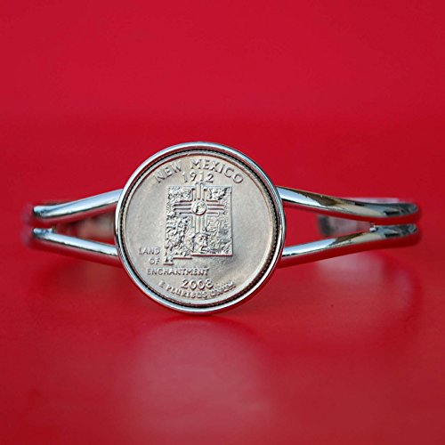 (US 2008 New Mexico State Quarter BU Unc Coin Silver Plated Cuff Bracelet - Beautiful)