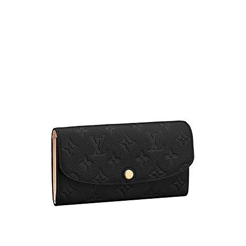 Luxurious Retro Monogram Practical Long Wallet Empreinte Printed Canvas Leather Zipper Coin Purse Pocket with Credit Card Slot for Women 19.0 x 10.0 x 2.0 cm Black