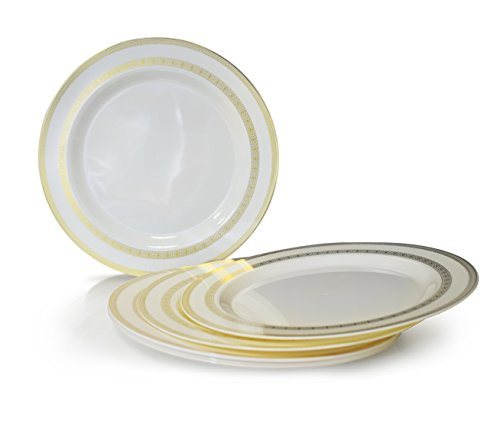 '' OCCASIONS '' 720 PCS / 120 GUEST Wedding Disposable Plastic Plate and Silverware Combo Set (Lace Ivory / Gold Plates, Gold Silverware) by OCCASIONS FINEST PLASTIC TABLEWARE (Image #3)