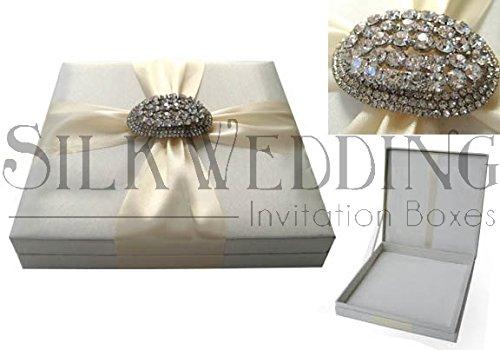 Elegant Silver Silk Wedding Invitation Box With Ornate Luxury (Silk Box Wedding Invitations)
