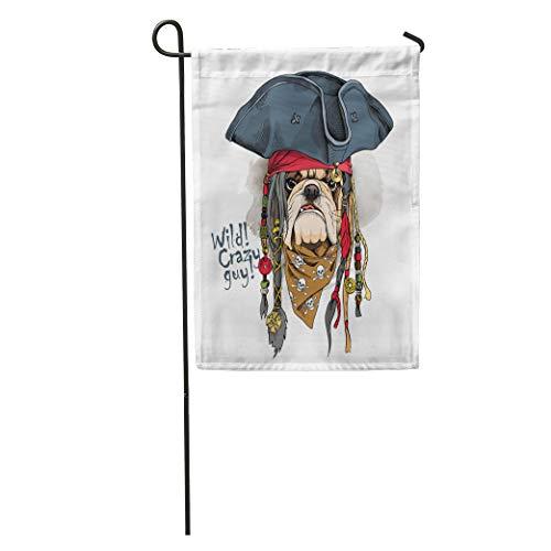 Semtomn Garden Flag Dog Portrait of Bulldog in Pirate Hat Bandana Dreadlocks Sailor Home Yard House Decor Barnner Outdoor Stand 12x18 Inches Flag