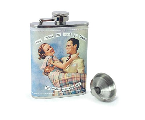 Anne Taintor Stainless Steel Hip Flask With Funnel - Love Makes the World Go -