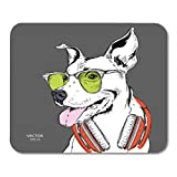 """Semtomn Gaming Mouse Pad The Poster of Dog Portrait in Hip Hop Hat and 9.5""""x 7.9"""" Decor Office Nonslip Rubber Backing Mousepad Mouse Mat"""