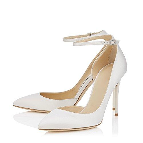 uBeauty Damen Stilettos High Heels Knöchelriemchen Pumps Übergröße Seite Hohl Ankle Buckle Strap Schuhe Weiß