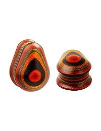 KUBOOZ Fashion Water Drop Shape Wood Ear Plugs Piercing Jewelry Ear Expander Studs Ears Tunnels gauge max