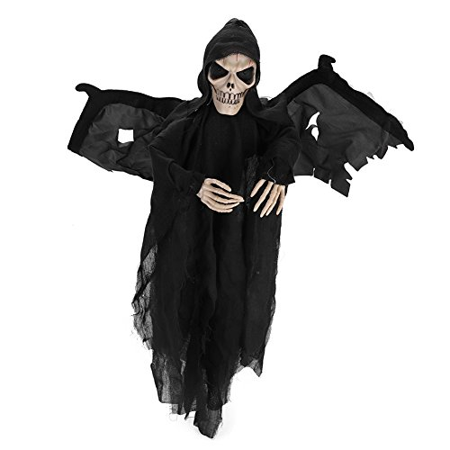 Lightening Eyes Hanging Ghost Bat Skull Skeleton with Wings Halloween Ghost Voice Control Screaming Moving Wings Trick or Treat Party Hanging Decoration Animated Skull Best Halloween Decoration Prop ()