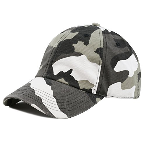 (The Hat Depot Unisex Blank Washed Low Profile Cotton and Denim Baseball Cap Hat (City Camo))