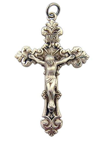 Sterling Silver Fleur De Lis Jesus Christ Cross Crucifix Pendant, 1 3/4 Inch ()