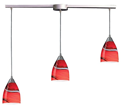 Pierra 3 Light Pendant - Pierra 3 Light Pendant in Satin Nickel and Candy Glass