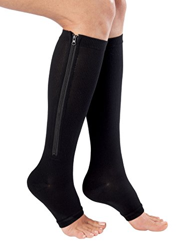 Bcurb Zippered Medical Compression Socks With Open Toe – Best Support Zipper Stocking for Varicose Veins, Edema, Swollen or Sore Legs – Helps Foot Feet Knee Ankle Arch – 1PrZipBlkSmMed