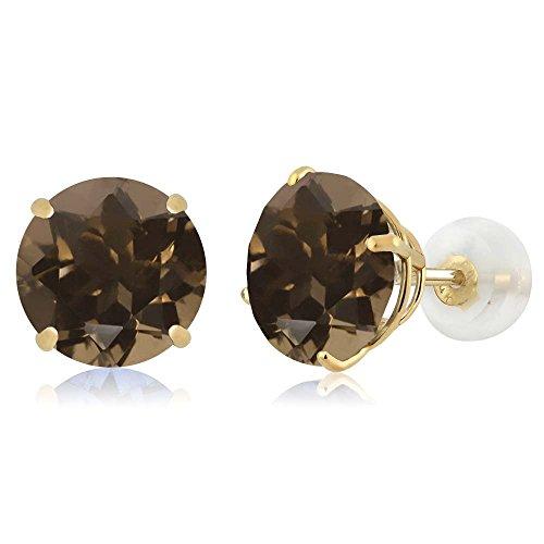 (Gem Stone King 3.40 Ct Round Brown Smoky Quartz 14K Yellow Gold Earrings)