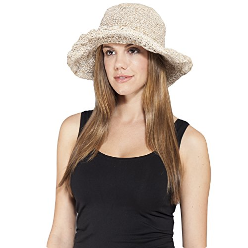 Women's Hemp & Cotton Hand Crochet Wide Brim Beach Summer Sun Festival Hat