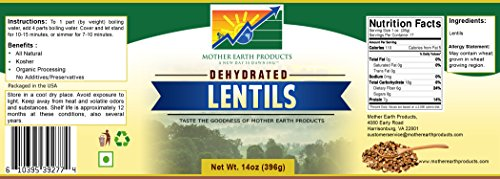 Mother Earth Products Dehydrated Lentils, Quart Jar by Mother Earth Products