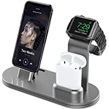 OLEBR Charging Stand for iWatch 4 Stand for AirPods Charging Docks for iWatch Series 4/3/2/1/ AirPods/iPhone Xs/X Max/XR/X/8/8Plus/7/7 Plus /6S /6S Plus/iPad-Space Gray