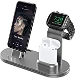 OLEBR Aluminum Alloy Charging Stand for iWatch 4 Watch Charging Stand for AirPods, iWatch Series 4/3/2/1,iPhone Xs/X Max/XR/X/8/8Plus/7/7 Plus /6S /6S Plus/iPad-Space Gray