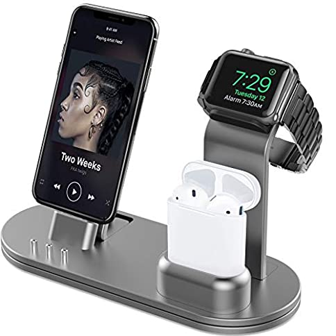 - 41zg5If9GgL - OLEBR Aluminum Alloy Charging Stand for iWatch 4 Watch Charging Stand for AirPods, iWatch Series 4/3/2/1,iPhone Xs/X Max/XR/X/8/8Plus/7/7 Plus /6S /6S Plus/iPad-Space Gray