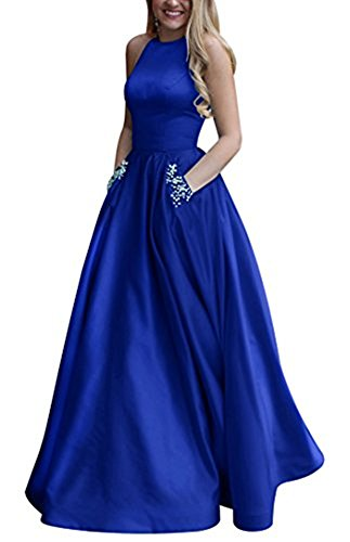 menoqo Evening Dresses Long Satin Beaded Halter Prom Party Gown Vestidos De Festa Abendkleider (Beaded Satin Evening Dress)