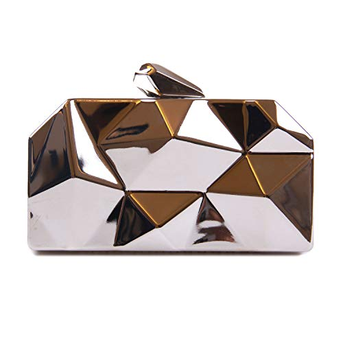 SUKUTU Women's Alloy Metal Clutches Purse, Abstract Stone Cut Cocktail Wedding Party Evening Handbag for Girls