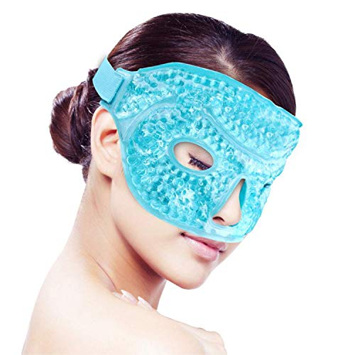 3pcs Gel Beads Face Masks Kit Hot/Cold Mask Cooling Ice/Heat Facial Eye Pack Therapy for Puffy Eyes, Migraines, Headaches, Pain Relief with Soft Back Reusable with Gel Ice Packs
