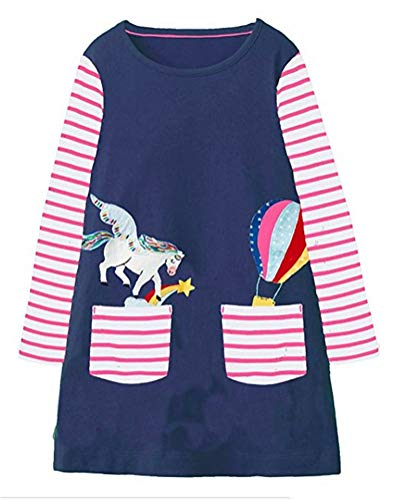 HILEELANG Toddler Girl Dress Stripe Long Sleeve Autumn Winter Cotton Basic Dress 1-7 Year -