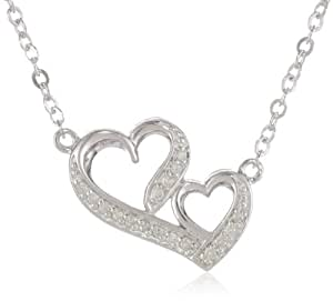 Sterling Silver Diamond Double Heart Pendant Necklace (1/10 cttw, J-K Color, I2-I3 Clarity)