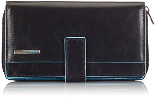 Piquadro Lady's Wallet In Leather, Black/Black, One Size by Piquadro