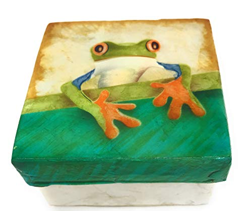 Kubla Craft Tree Frog Capiz Shell Keepsake Box, 3 Inches Square