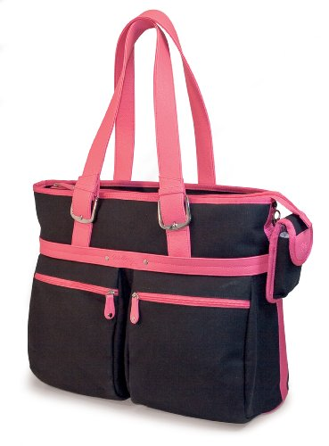 Mobile Edge Komen Eco-Friendly Tote, Black with Pink Trim (Fits 16-Inch PC/17-Inch (Komen Laptop Bag)