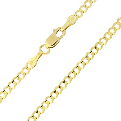 Solid 14k Yellow Gold Comfort Cuban Curb 2.6mm Chain Anklet - 10'' by Beauniq
