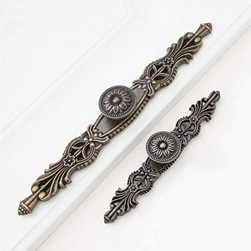 """LBFEEL 3.75"""" 5.0"""" Vintage Dresser Drawer Pull Handles Antique Brass Rustic Kitchen Cabinet Handle Pull Drop Bail Decorative 96mm 128mm (Small Backplate)"""