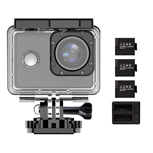 Action Cameras Native 4K/30fps, XTU Waterproof Digital Sports Cam Wi-Fi Camcorder EIS Wide-Angle 2.0 Inch Touch Screen Video Camera with 3 Rechargeable Batteries,Light,Small
