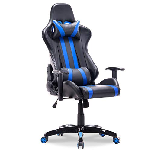 Racing Style High Back Reclining Gaming Chair - White Apontus