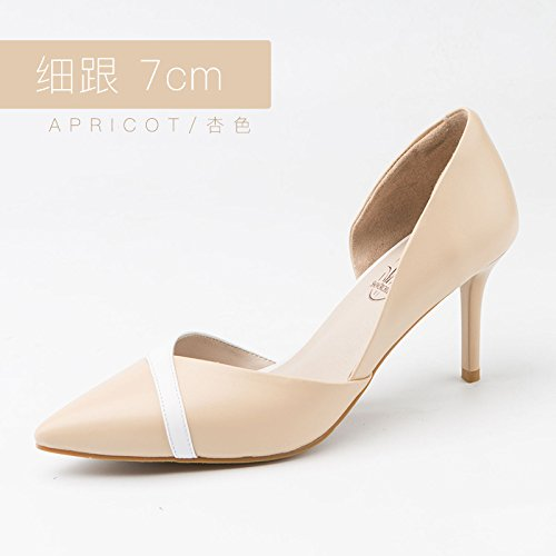 Fine Wedding Shoes heels High Apricot Female 7cm Single With Heels Shoes Pointed High Shoes Jqdyl New RPwYx7Ra