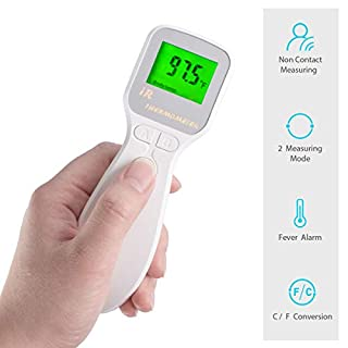 Forehead Thermometer, Non-Contact Infrared Forehead and Ear Thermometer with Fever Alarm – Ideal for Babies, Infants, Children, Adults, Surface and Room Use