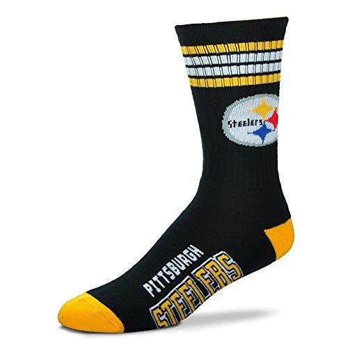 NFL 4 Stripe Deuce Crew Socks Mens-Pittsburgh Steelers-Size Large(10-13) Pittsburgh Steelers Stripe