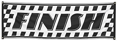 Race Finish - Racing Black & White Chequed Finish Banner/ Flag 220x74cm