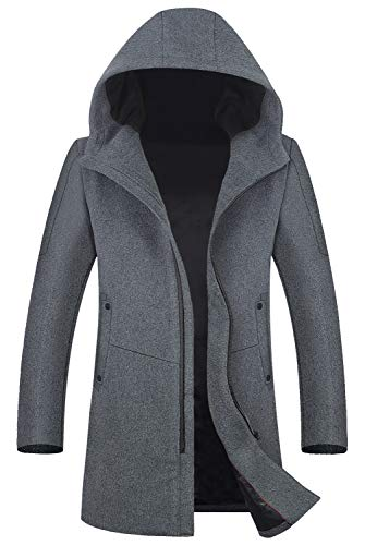 Men's Coat 80% Wool Content Classic Hooded Jacket Winter Stylish Trench Coat 1812 Gray ()