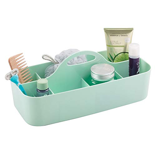 mDesign Plastic Portable Storage Organizer Caddy Tote - Divided Basket Bin with Handle for Bathroom, Dorm Room - Holds Hand Soap, Body Wash, Shampoo, Conditioner, Lotion - Extra Large - Mint Green ()