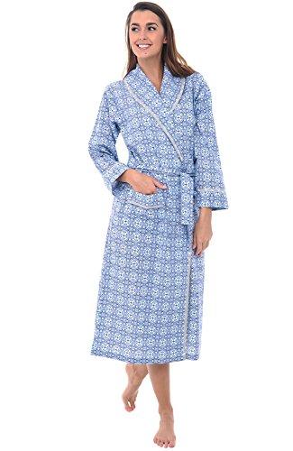Alexander Del Rossa Women's Lightweight Cotton Kimono Robe, Summer Bathrobe, 2XL Blue Moroccan Tile (A0515V562X) (Seersucker Wrap)