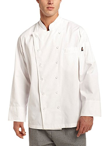 Dickies Chef Men's Unisex Executive Coat with Fluid Barrier, White, Large (Dickies Shirt Jacket For Men)