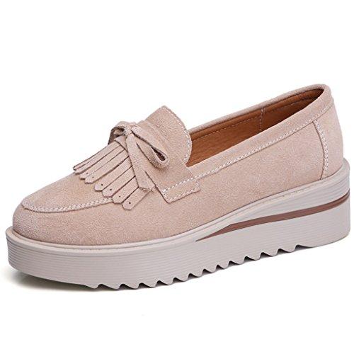 GilesJones Flats Loafers for Women,Classic British Suede Fringe Round Toe Slip On Platform Shoes