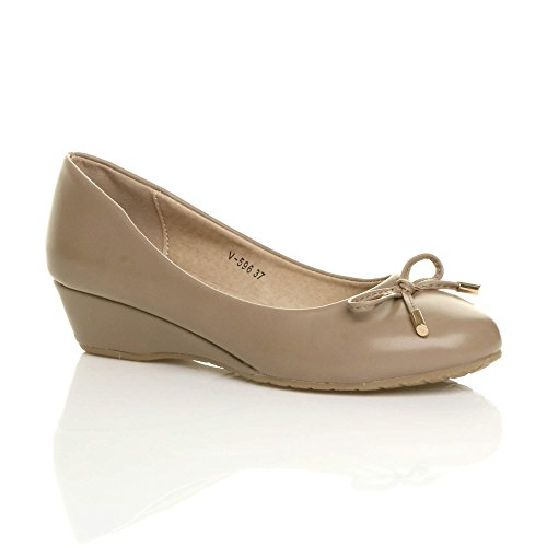 élégant Escarpins Chaussures Pointure mi Femmes compensé Bas Talon Taupe Ballerine 0cqU66Iw